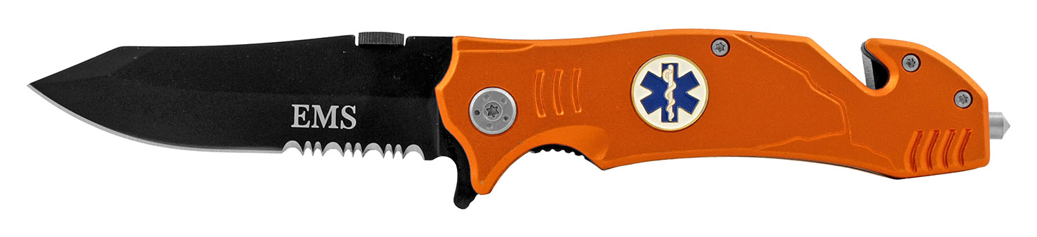 4.63 in Spring Assisted Folding Rescue Pocket Knife - EMS