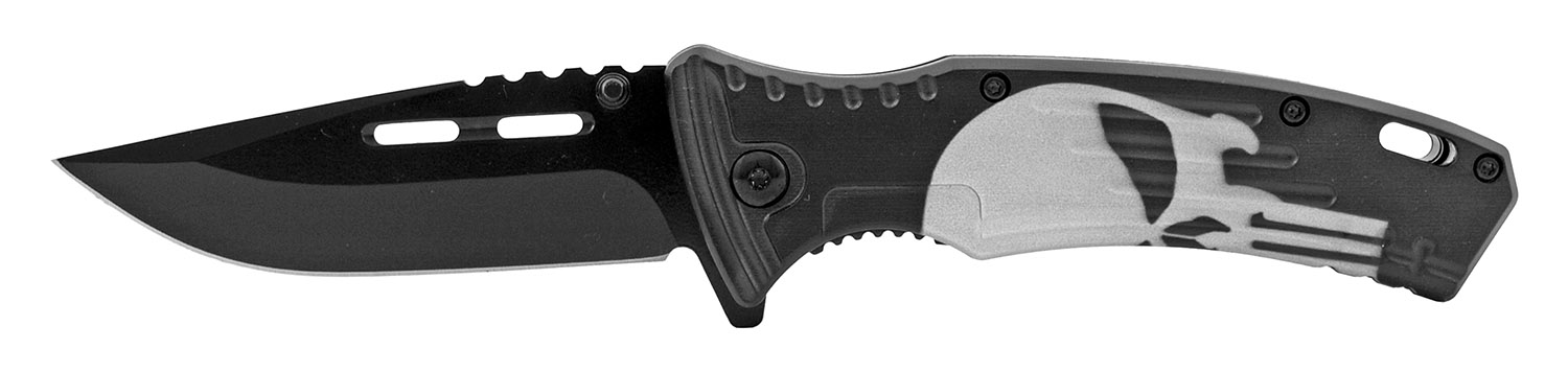 4.75 in Spring Assisted Drop Point Traditional Folding Pocket Knife - Punisher Skull