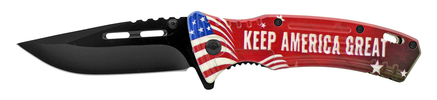 4.75 in Spring Assisted Drop Point Traditional Folding Pocket Knife - Keep America Great President Trump