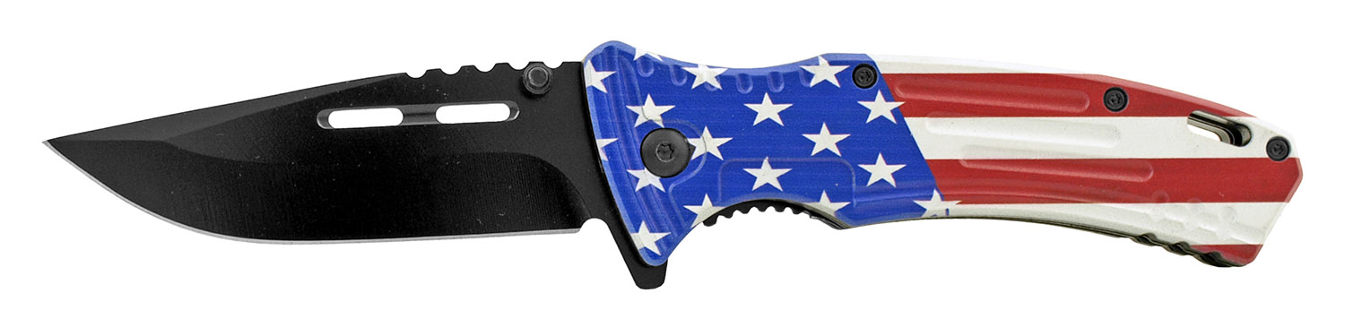 4.75 in Spring Assisted Drop Point Traditional Folding Pocket Knife - United States of America Flag