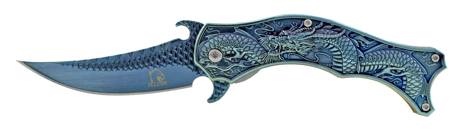 4.5 in Spring Assisted Stainless Steel Trailing Point Folding Pocket Knife - Blue