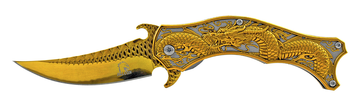 4.5 in Spring Assisted Stainless Steel Trailing Point Folding Pocket Knife - Golden