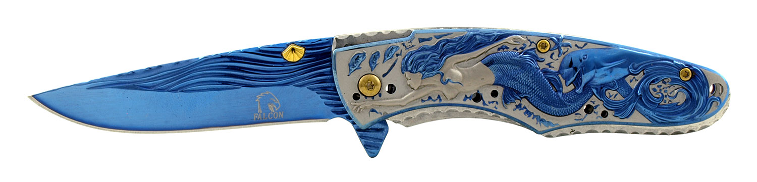 4.5 in Spring Assisted Stainless Steel Drop Point Sailor's Mermaid Folding Pocket Knife - Blue