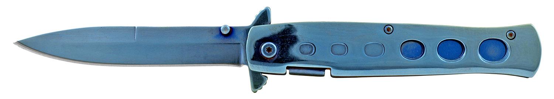 5 in Stainless Steel Stiletto Folding Pocket Knife - Blue
