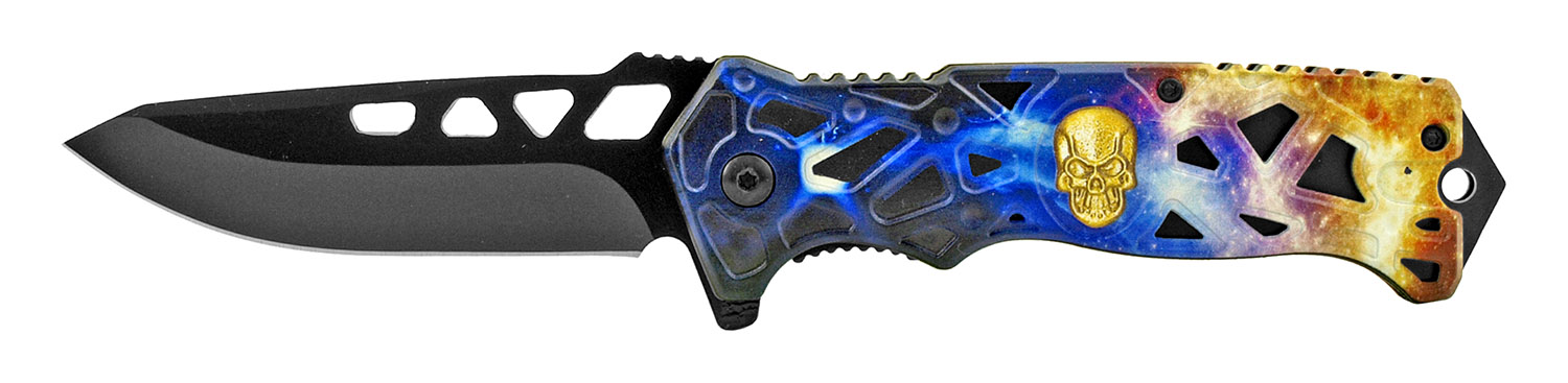 4.75 in Skull Spring Assisted Folding Pocket Knife - Blue Yellow