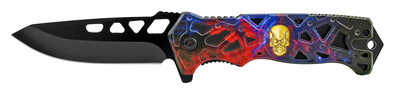4.75 in Skull Spring Assisted Folding Pocket Knife - Titanium