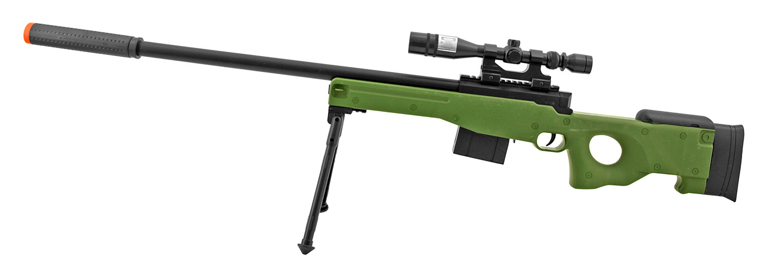 UK Arms P2703G Spring Powered Airsoft Sniper Rifle with Scope and Bipod Attachment