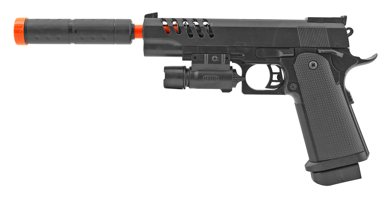 UK Arms P2004 Spring Powered Airsoft Handgun with Silencer and Laser Light