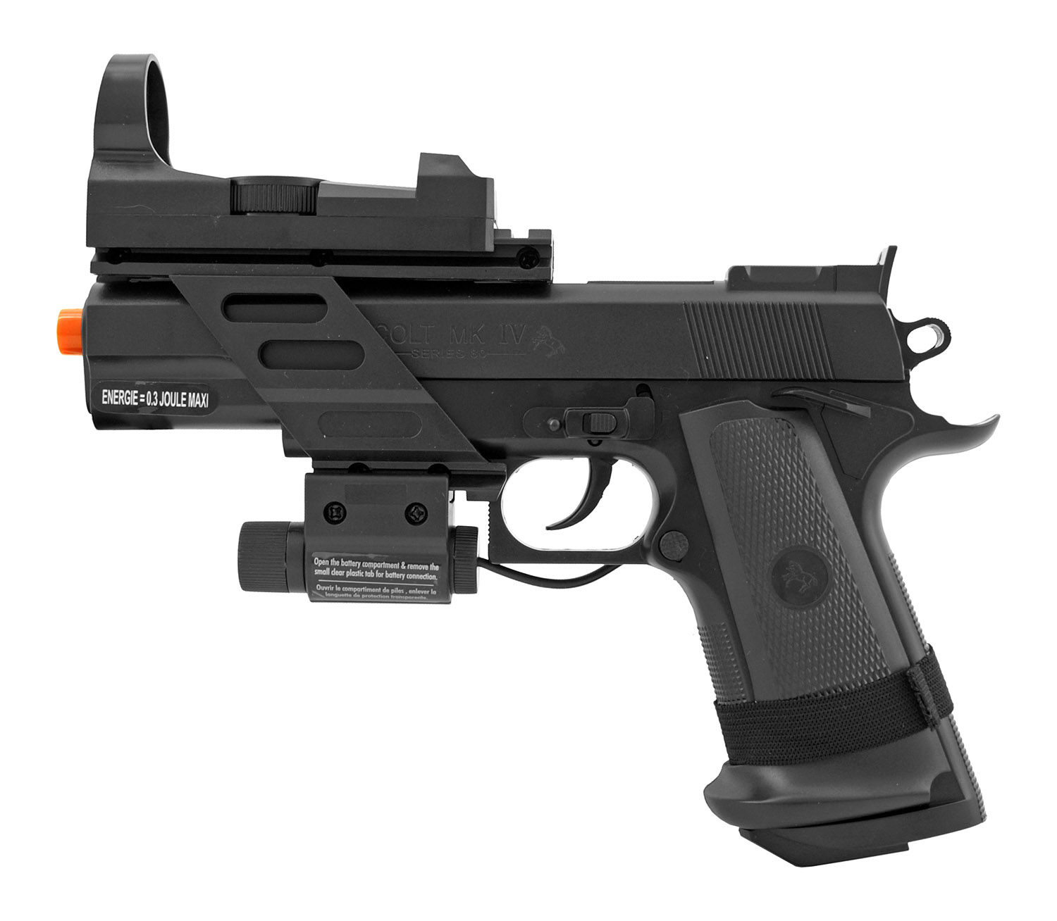 Colt MK IV Spring Powered Airsoft Sidearm Pistol Kit with Target and Mock Scope
