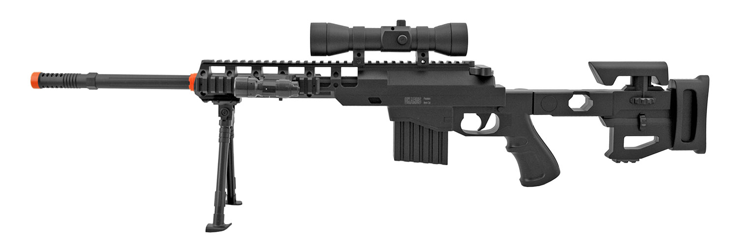 UKArms P1402 Spring Powered Airsoft Sniper Rifle with Bi-Pod Shooting Attachment