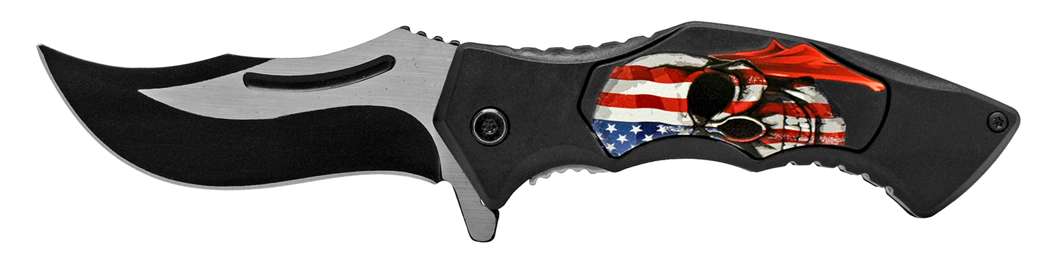 4.75 in Carver Folding Pocket Knife - American Skull
