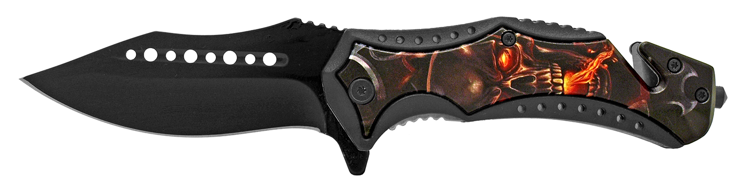 5 in Rescue Folding Pocket Knife - Satan's Skull