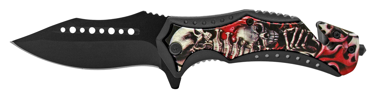 5 in Rescue Folding Pocket Knife - Skeletons