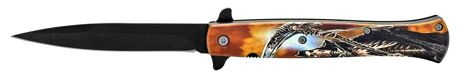 5 in Stiletto Folding Pocket Knife - Grim Reaper