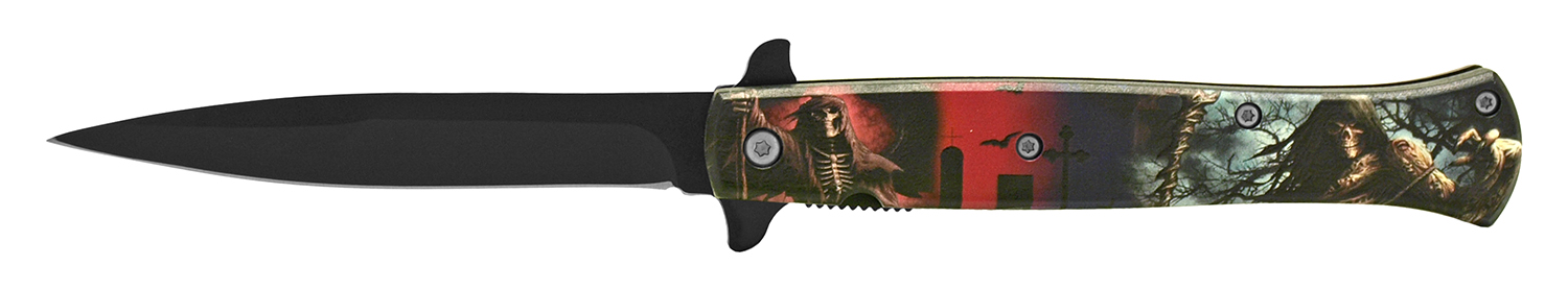 5 in Stiletto Folding Pocket Knife - Day and Night Reaper