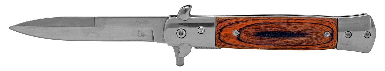 5 in Stainless Steel Stiletto Folding Pocket Knife - Cherry Wood