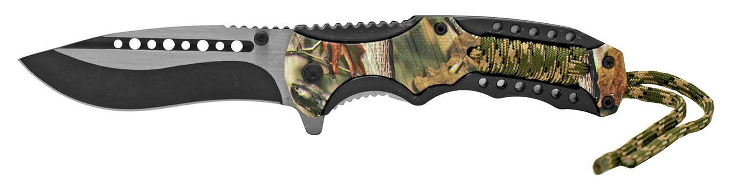 4.88 in Tactical Paracord Folding Pocket Knife - Woodland Camo