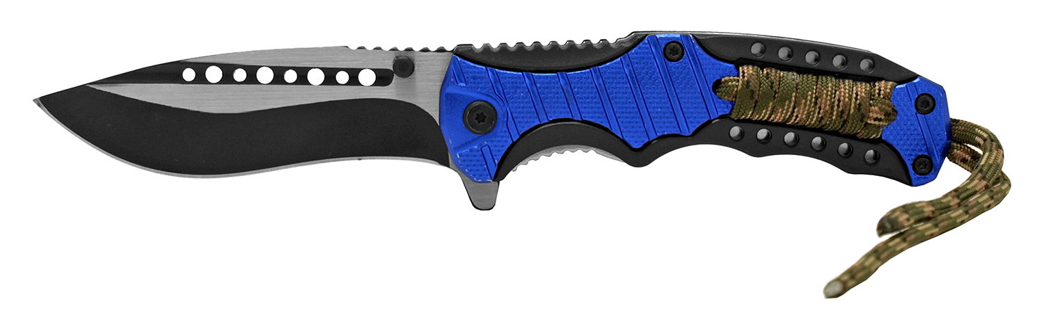 4.88 in Tactical Paracord Folding Pocket Knife - Blue