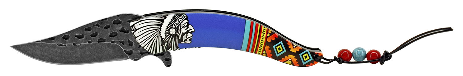 5 in Native Chief Indian Feather Folding Pocket Knife - Blue
