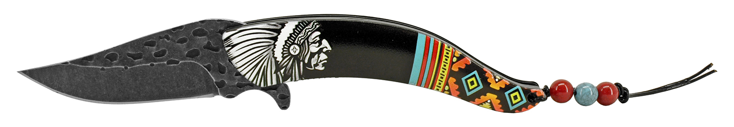 5 in Native Chief Indian Feather Folding Pocket Knife - Black