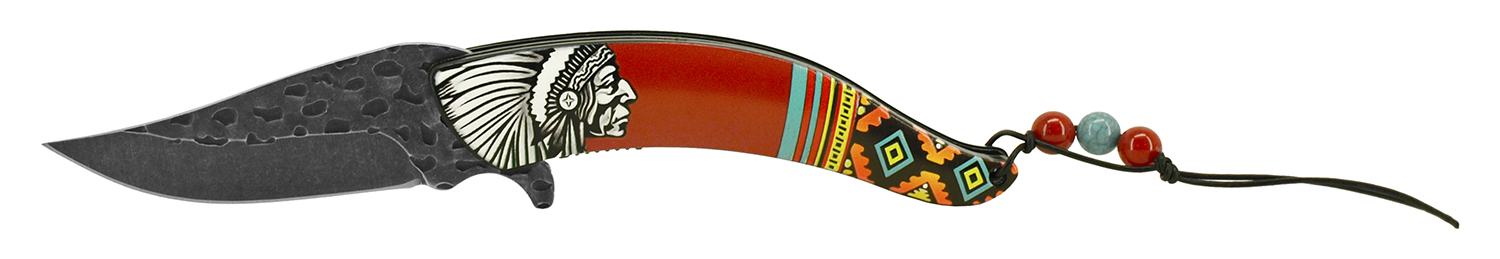 5 in Native Chief Indian Feather Folding Pocket Knife - Red