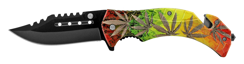 4.63 in Multi-Functional Rescue Folding Pocket Knife - Multi-Color Marijuana