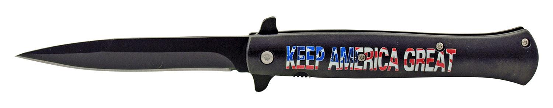 5.25 in Stiletto Blade Folding Pocket Knife - Keep America Great American President Donald Trump