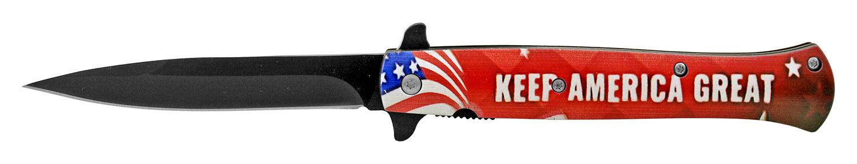 5.25 in Stiletto Blade Folding Pocket Knife - Keep America Great President Trump