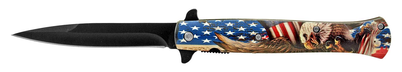5.25 in Stiletto Blade Folding Pocket Knife - American Flag Eagle