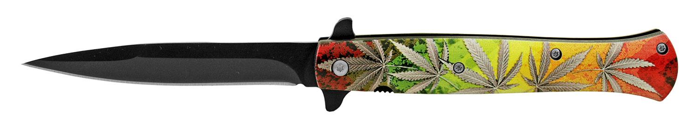 5.25 in Stiletto Blade Folding Pocket Knife - Multi-Color Marijuana