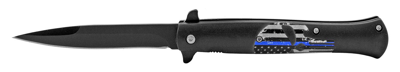 5.25 in Stiletto Blade Folding Pocket Knife - Blue Line Punisher Skull