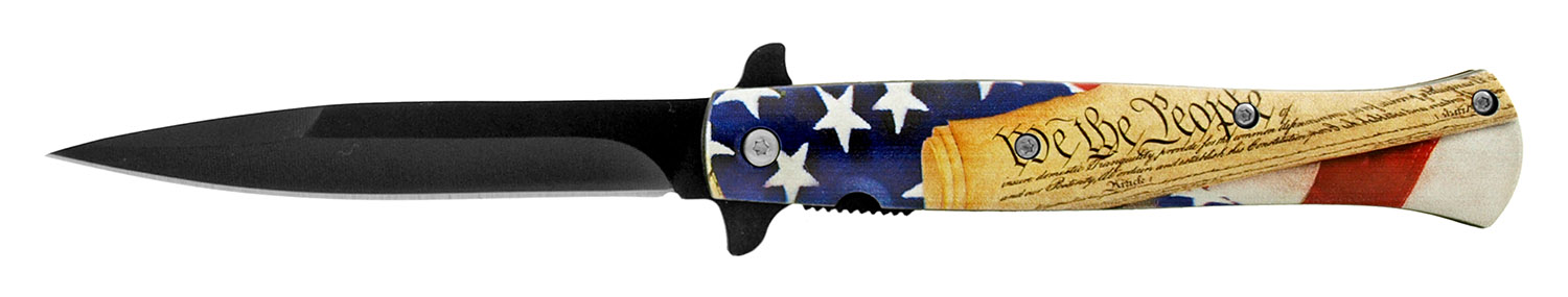 5.25 in Stiletto Blade Folding Pocket Knife - We the People American