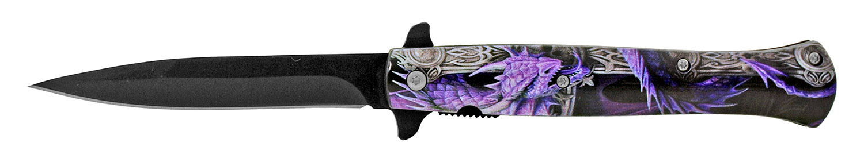 5.25 in Stiletto Blade Folding Pocket Knife - Purple Dragon