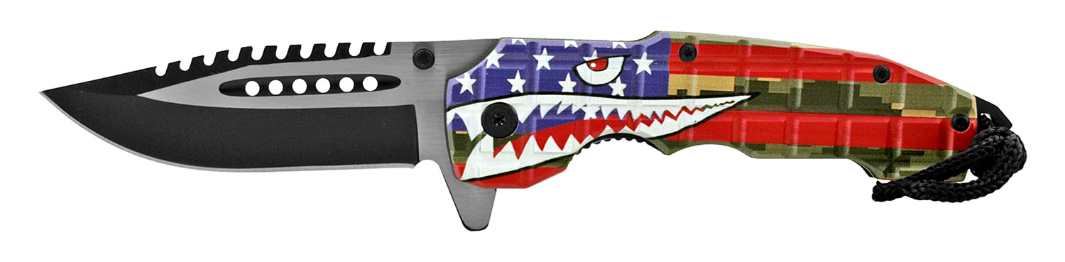 4.75 in Drop Point Spring Assisted Traditional Folding Pocket Knife - Blue 50's Fighter Bomber Shark