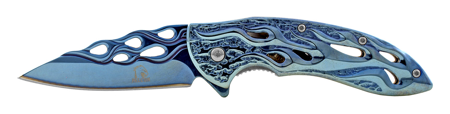 4.5 in Drop Point Stainless Steel Traditional Folding Pocket Knife - Blue