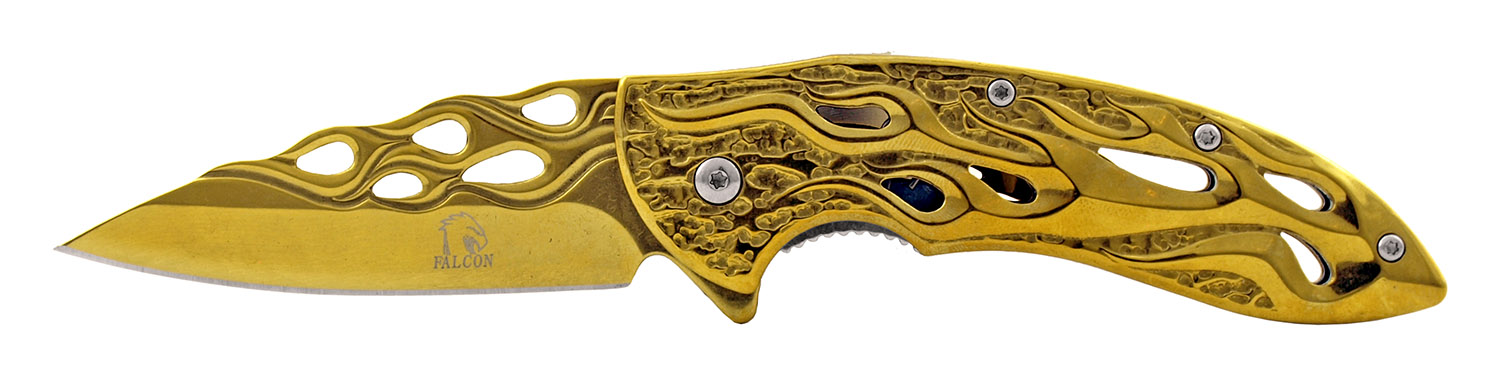 4.5 in Drop Point Stainless Steel Traditional Folding Pocket Knife - Golden