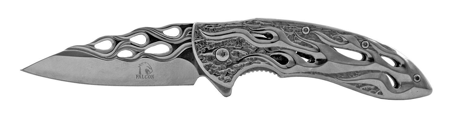 4.5 in Drop Point Stainless Steel Traditional Folding Pocket Knife - Chrome