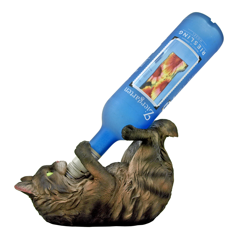 Fluffy's Brew - Main Coon Kitty Cat Wine Bottle Holder Figurine - DWK