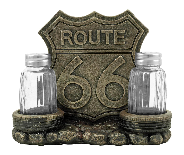 Route 66 Road Stop Diner - Vintage Café Napkin and Salt and Pepper Shaker Holder