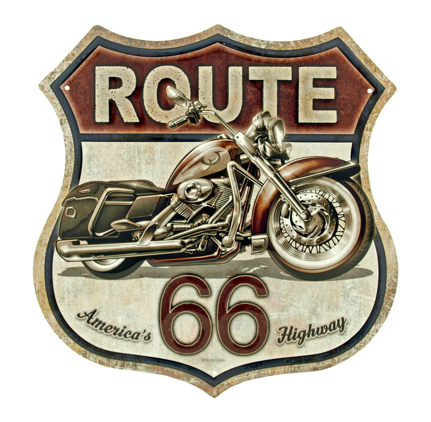 Route 66 America's Highway Tin Metal Motorcycle Sign