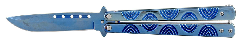 5.25 in Stainless Steel Butterfly Folding Pocket Knife - Blue