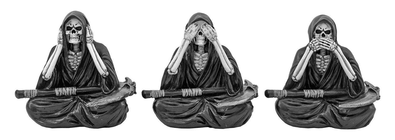Reap No Evil Skeleton Reaper Hear No Evil, See No Evil, Speak No Evil Figurine Statue Set - DWK