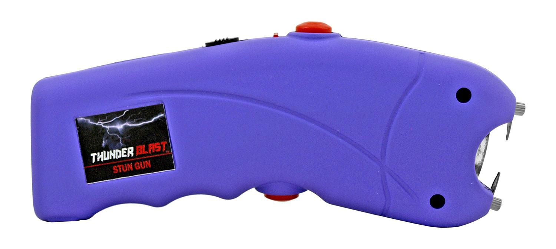 5.13 in Traditional Style Firm Grip Stun Gun Flashlight - Purple