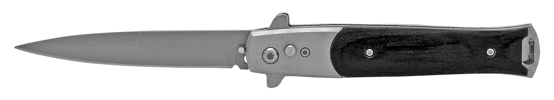 4.88 in Push Button Switchblade Folding Pocket Knife - Black Wood
