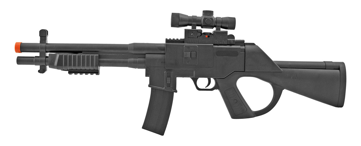 UK Arms P2338A Spring Powered Airsoft Assault Rifle with Red Dot Laser Mock Scope