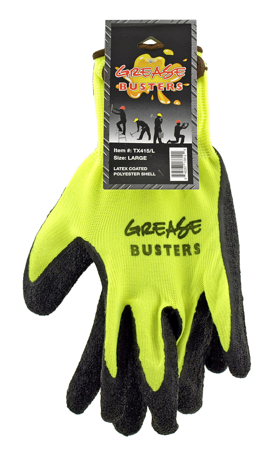 1 Pair of Grease Busters Latex Coated Polyester Work Gloves - Large