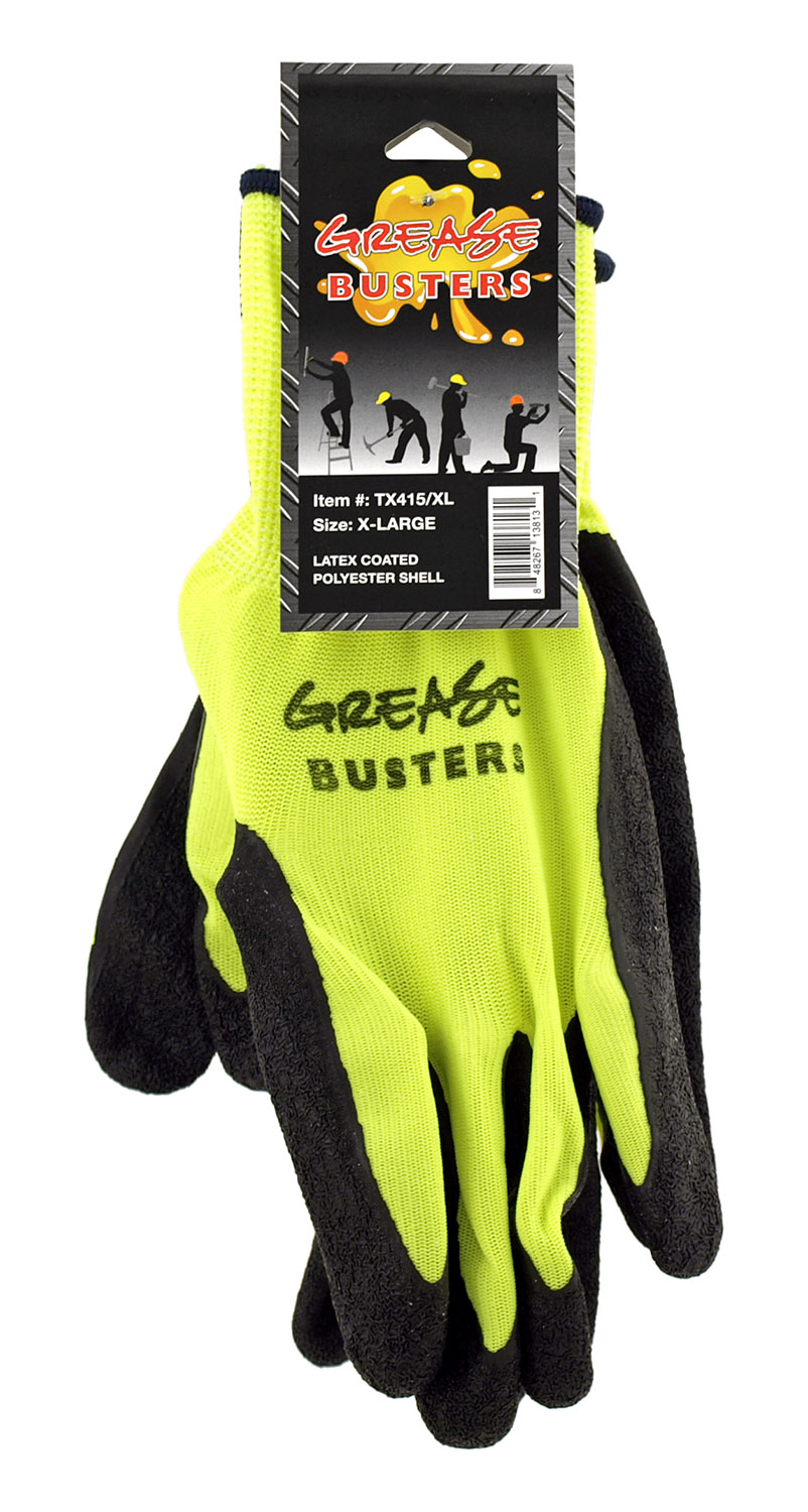 1 Pair of Grease Busters Latex Coated Polyester Work Gloves - Extra Large XL