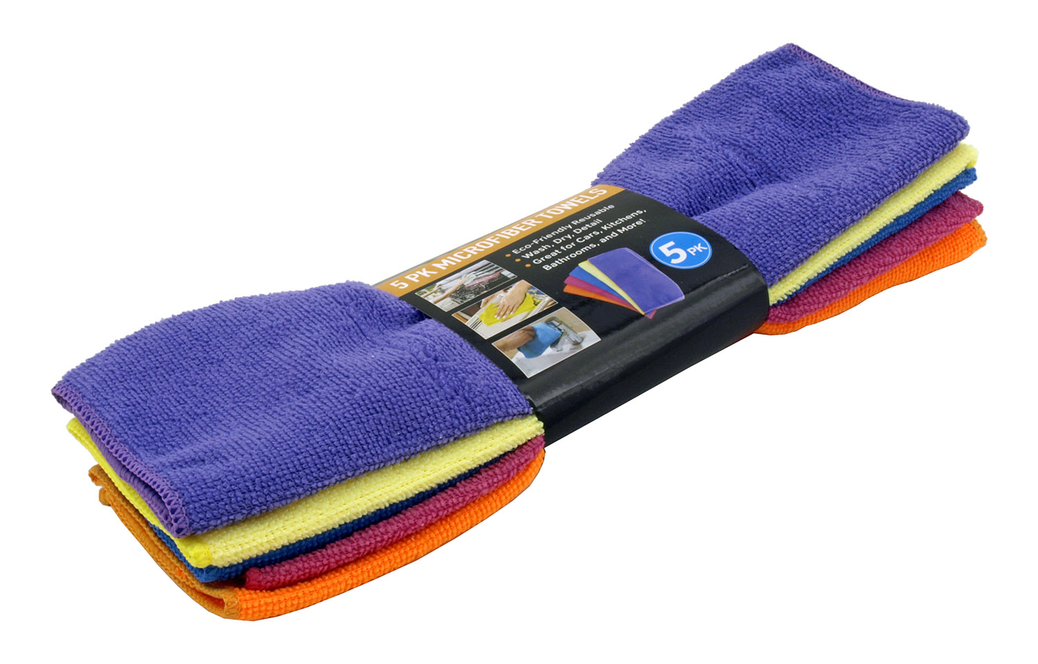 5 pk. Climate and Eco-Friendly Reusable Microfiber Cleaning Towels - Assorted Colors