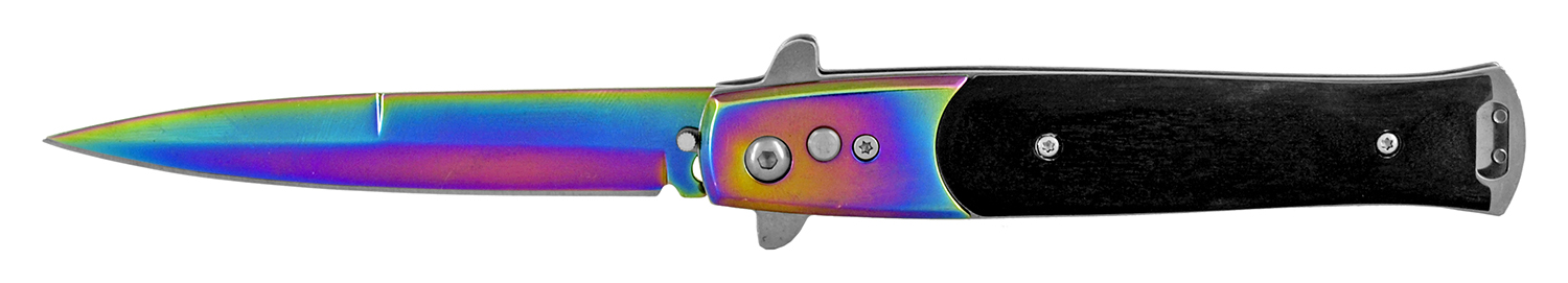 4.88 in Push Button Switchblade Folding Pocket Knife - Titanium