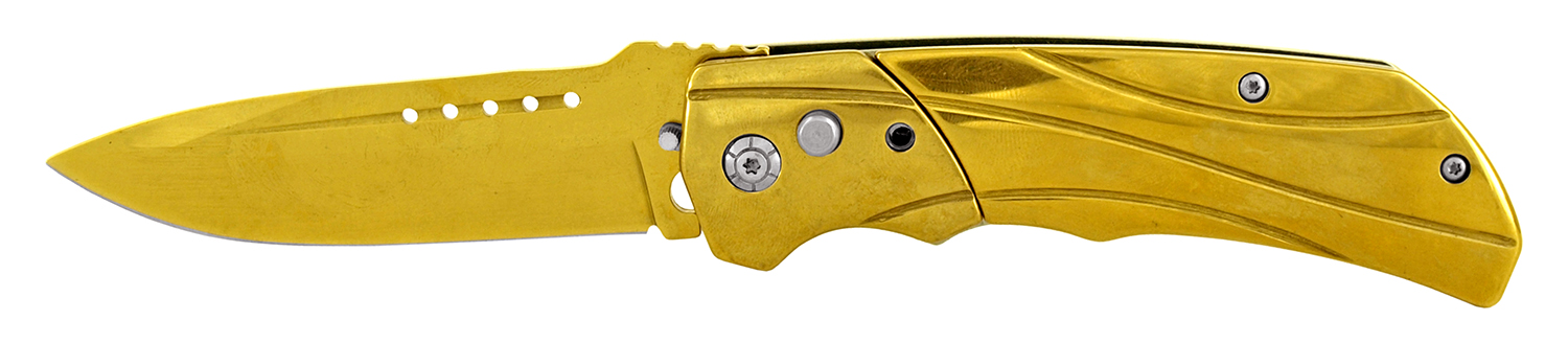 4.5 in Heavy Duty Stainless Steel Switchblade Pocket Knife - Gold